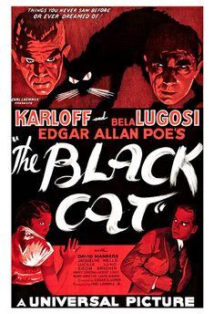The Black Cat - Horror Movie Poster Print  13x19 - Vintage Movie Poster - Boris Karloff Bela Lugosi Edgar Allan Poe