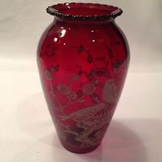 Vintage Anchor Hocking Ruby Red Glass Hoover Vase With White Bird Design