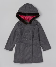 Take a look at the Charcoal Heather Trench Coat - Girls on #zulily today!