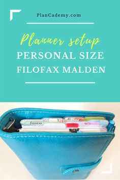 Filofax Personal size Malden setup - planning sections: inbox, notes, monthly calendar, daily planner pages, informations.