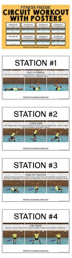 Fitness Stations: Circuit Training Workout with Posters (Middle School PE) - Todo Sobre La Salud Bucal Elementary Physical Education, Elementary Pe, Health And Physical Education, Pe Activities, Fitness Activities, Physical Activities, Pe Lessons, Health Lessons, Circuit Training Workouts