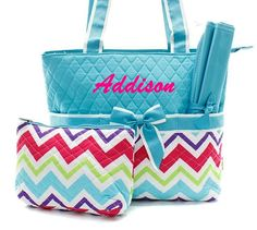 Personalized Diaper Bag 3pc Set Quilted by SisterEmbroideryShop