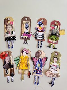 """Artful Play: """"Foot Loose"""" tags made by Diana. Atc Cards, Card Tags, Gift Tags, Tag Art, Paper Dolls, Art Dolls, Art Altéré, Coin Envelopes, Arts And Crafts"""