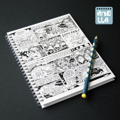Libreta hecha a mano con 4 páginas de un viejo comic.