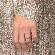 Angelina Jolie's Classically Elegant Vintage Emerald Cut and Baquette Diamond Engagement Ring / Shimmering Beaded Evening Gown