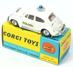 Corgi Toys 492 Scarce Swiss Export VW Polizei car in white... would have loved the white one...