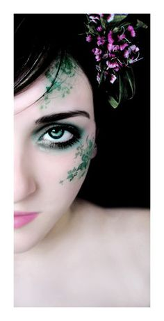 Leafy Green Fairy Makeup... I like the idea, but it's a bit complex for stage... maybe just a few vines?