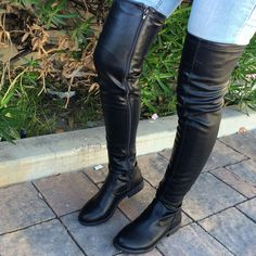Faux Leather Thigh High Round Toe Boot
