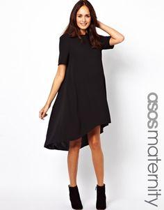 Image 1 ofASOS Maternity Swing Dress with Dipped Hem