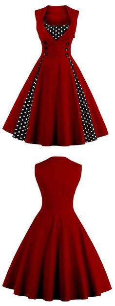Button Embellished Polka Dot Retro Dress #valentinesday