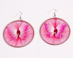 Fashion Vintage Silk Thread Earrings, Silver plated, Alloy with rhinestones, Pink silk thread, With a pink butterfly pattern, Size around 57*2mm, Round shape, Sold per unit,1 pair per unit.