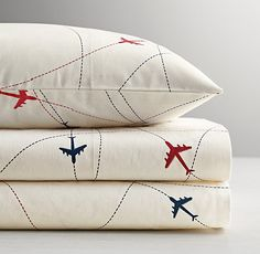 RH Baby & Child's Airplane Route Sheet Set:Blue and red airplanes trace a series of marked routes across our soft cotton percale sheet set as weary travelers wing their way to sleep. Airplane Decor, Airplane Nursery, Boys Airplane Bedroom, Airplane Mobile, Aviation Nursery, Aviation Decor, Airplane Pilot, Nursery Bedding, Kids Sheet Sets