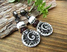 Long Black and White Earrings Czech Glass Shell Earrings