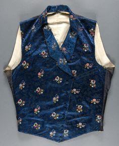Man's Waistcoat. Made in United States, c. 1843, Blue figured silk satin