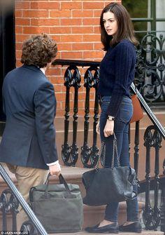 Anne Hathaway filming The Intern in New York. via MailOnline
