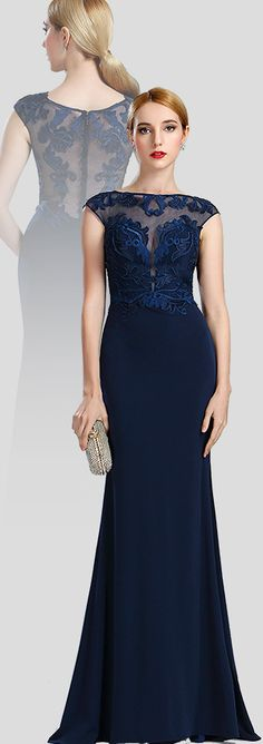 Cap Sleeves Navy Lace Formal Evening Dress
