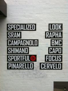 Some of the biggest #bike brands in the world. Signs on the wall of a #bike shop near Camberwell Junction, Melbourne, Australia © Tim Deyzel