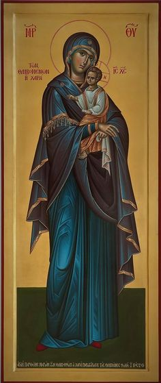 Byzantine Icons, Byzantine Art, Religious Icons, Religious Art, Our Lady Of Rosary, Orthodox Catholic, Archangel Uriel, Greek Icons, Mary And Jesus