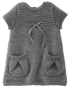 Baby Knitting Patterns Pullover Gray Vestina – Phildar No. 25 of 2009 Baby Cardigan, Knit Baby Dress, Crochet Cardigan, Knit Baby Sweaters, Knitted Baby Clothes, Girls Sweaters, Baby Knitting Patterns, Knitting For Kids, Baby Outfits