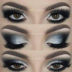 cool-toned silver / grey smokey eye w/ smokey black outer corner & lower lashline @melissasamways | #dramatic glam makeup