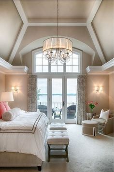 Traditional Master Bedroom with Chandelier, Paint, Crown molding, High ceiling, French doors, Carpet, no bedroom feature
