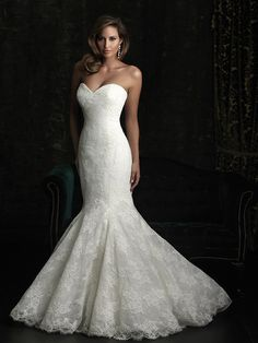 Classic Formal Hollywood Glam Ivory White $$$ - $1501 to $3000 Allure Bridals Beading Fit-n-Flare Floor Lace Mermaid/Trumpet Natural Organza Sleeveless Strapless Sweetheart Tulle Wedding Dresses Photos & Pictures - WeddingWire.com