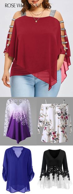 Up to 80% off, Rosewholesale plus size women blouses tshirts tops spring summer outfits | Buy the latest plus size fashion style in rosewholesale.com | #rosewholesale #plussize #tops #blouses