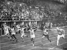The final of the Men's 100 metres during the 1952 Olympic Games held at Helsinki, Finland. The closest final in the history of the event, the photo finish revealed American Lindy Remigino (third from right) as the Gold Medallist in 10.79 seconds. The race was so tight, that John Treloar of Australia (far left) finished just 12 hundredths of a second behind the gold medallist, but only came sixth.