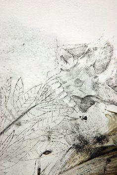 Nunzio Paci title: Herbivore dim: cm 80x70 tecnique: pencil, oil, enamel, resins on canvas