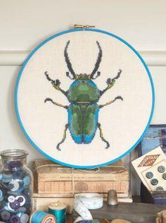 CrossStitcher stag beetle hoopla