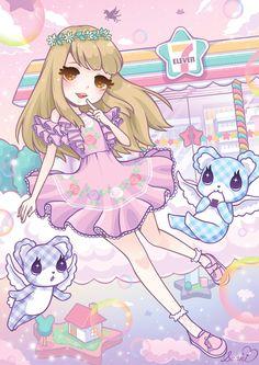 I love kawaii things,fairy kei,pastel goth. Kawaii Anime Girl, Art Kawaii, Arte Do Kawaii, Kawaii Shop, Kawaii Drawings, Cartoon Drawings, Cute Drawings, Anime Chibi, Anime Art