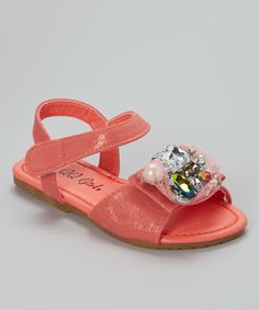 Look at this #zulilyfind! Coral Jewel Julia Sandal by QQ Girl #zulilyfinds