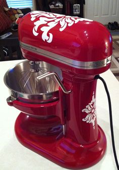 """Thinking of painting my """"new"""" mixer this color and adding these cute decals!!! Vinyl Damask Decals for KitchenAid!"""