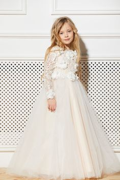 d63321c4a45 Ivory Flower Girl Dress Cream Tulle Tutu Birthday Wedding Kids Guipure  Blush Lace Pearls Junior Brid. Toddler Flower Girl DressesIvory ...