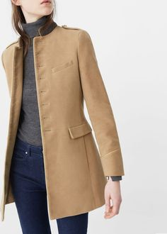 Military style coat - Coats for Woman | MANGO Czech Republic