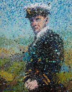 "Title: Zachary Lansdowne Dominant Colors: Black, Blue, Green, Flesh, Yellow, White Medium: Mixed Original Artwork Size: 20""x30"" Year: 2014"