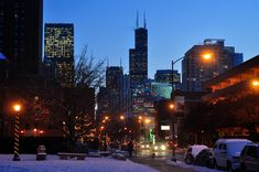 Chicago skyline at night. // Winter