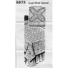 Mail Order Crochet Square  Pattern in Leaf motif.  Join squares to form a bedspread in single, double or queen sizes.  Mail Order 5873.