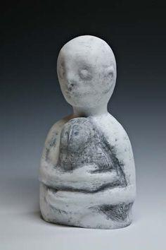 """Beth Ozarow  -  Ghostbird (Owl)  ceramic + acrylics  17"""" x 10"""" x 8"""""""