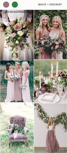 Mauve and greenery wedding color ideas