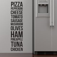 Pizza, Pepperoni, Cheese... Wall Stickers from StickerStudio™. Thousands of designs available from thestickerstuio.com.