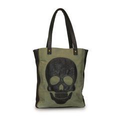 """Loungefly olive green and black skull purse. Cotton twill with faux leather trim. Black skull applique on one side. Side zipper details. Magnetic snap closure. Dual handles with approximate 10"""""""" drop."""