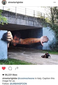 Graffiti artist creates mind-bending street art that will make you look twice 3d Street Art, Murals Street Art, Amazing Street Art, Street Art Graffiti, Street Artists, Amazing Art, Graffiti Artists, Amazing Pics, Urban Street Art