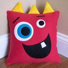 Red Monster/Silly Face Pillow These soft and cuddly animal pillows are the perfect touch for any nursery. Safe for Toddlers Handmade inch Pillow Machine Washable Made in a smoke and pet-free environment. Cute Pillows, Kids Pillows, Animal Pillows, Throw Pillows, Decor Pillows, Felt Crafts, Fabric Crafts, Sewing Crafts, Diy And Crafts