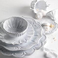 The store's most popular Vietri pattern. Mix and match with this Vietri classic. VIETRI New Incanto Dinnerware Teller Set, White Dinnerware, Classic Dinnerware, Vintage Dinnerware, Vintage Plates, Vintage Dishes, Dinnerware Sets, Antique Dishes, Vintage Pyrex