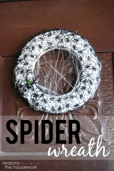A spider wreath is easy to make and will spook everyone who comes close! #halloween