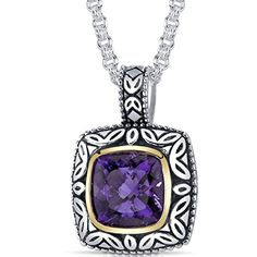 Cushion Cut 375 carat Amethyst Sterling Silver Rhodium Nickel Finish Antique Style Pendant ** Click image for more details.