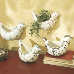 4 Piece Rooster Wall Pocket Set