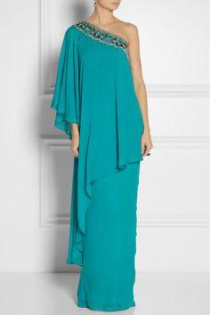 Notte by Marchesa|Embellished silk-chiffon kaftan-style gown|NET-A-PORTER.COM