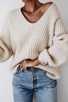 chunky sweater and jeans